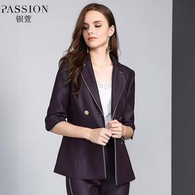 【商场同款】钡萱2018冬季新款 时尚复古西装领减龄短外套女W82236A