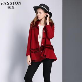 钡萱冬季新款气质毛领长袖呢子大衣女宽松短款毛呢外套W5316A