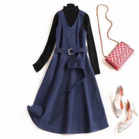 2018连衣裙冬季新款纯色长袖高领针织衫V领毛呢中长裙两件套8615