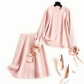 2018时尚套装冬季女装开叉蝴蝶结袖口简约条纹针织中长裙套装8630