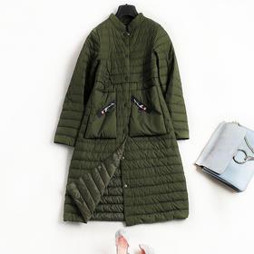 欧洲站气质女装2018秋冬新款拼接织带保暖中长款羽绒服外套女C449
