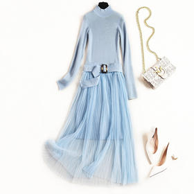 2018连衣裙女冬季新款立领纯色针织裙腰带气质网纱长裙两件套8516