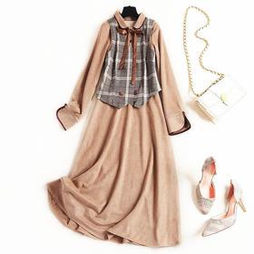 2018女装连衣裙冬季丝带圆角翻领开叉袖口长裙格纹马甲套装裙8583