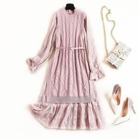 2018女装连衣裙冬季圆领针织马甲裙摆开叉网纱木耳边蕾丝长裙8471