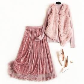 2018冬季套装立领挂饰针织衫无袖马甲钉珠网纱金丝绒长裙套装8601