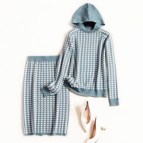 2018时尚套装冬季新款女装千鸟格连帽针织上衣开叉中长裙套装8637
