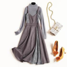 2018女装连衣裙冬立领针织上衣纯色麂皮绒拼接格纹吊带裙套装8626