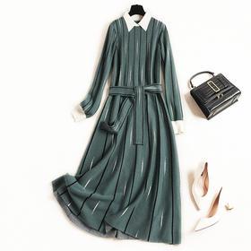 2018女装连衣裙冬季撞色翻领条纹针织裙气质通勤腰带高腰长裙8633