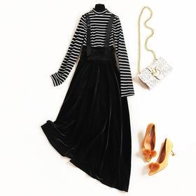 2018女装连衣裙冬季立领条纹针织上衣金丝绒吊带中长裙两件套8612