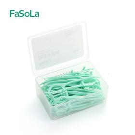 日本FaSoLa盒装经典细牙线剔牙线家庭装安全牙线棒牙签50支绿色