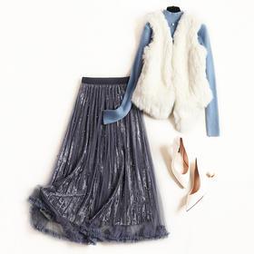2018冬季套装立领挂饰针织衫无袖马甲金丝绒钉珠网纱长裙套装8603