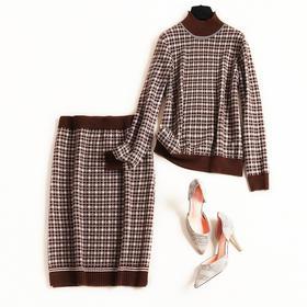 2018冬季时尚套装长袖立领格纹撞色针织上衣裙摆开叉长裙套装8638