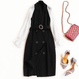 2018冬季女装连衣裙拼接珍珠纱喇叭袖翻领双排扣高腰西装长裙8611