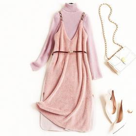 2018女装连衣裙冬季堆堆领针织上衣仿水貂绒V领吊带长裙套装8656