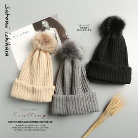 【既是围巾、又是帽子】日系创意毛球帽  毛球可拆卸  冬日超萌保暖神器