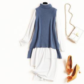 2018女装连衣裙冬季堆堆领衣摆开叉针织上衣不规则长裙两件套8672