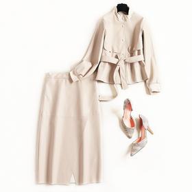 2018套装女冬季罗纹领绑带棒球衫上衣交叠开叉裙摆PU长裙套装8614