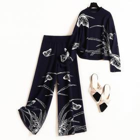 2018套装冬季新款女装蝴蝶图案圆领珍珠上衣九分裤针织两件套8582