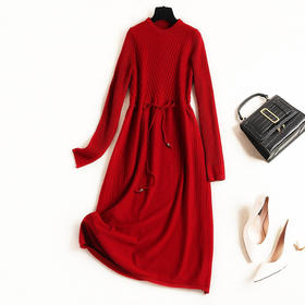 2018女装连衣裙冬季新款纯色长袖圆领针织裙名媛气质抽绳长裙8639