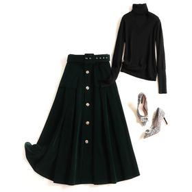 2018冬季时尚套装裙女装新款高领针织打底衫高腰金丝绒半身裙8666