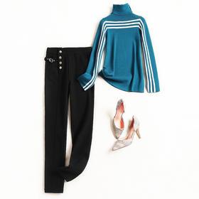 2018套装女冬季堆堆领条纹针织上衣拼接调节带暗扣长裤两件套8683
