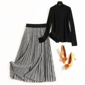2018冬季套装女长袖圆领下摆开叉针织衫撞色格纹中长裙两件套8785
