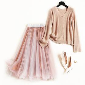 2018冬季时尚套装女V领长袖系带针织上衣网纱气质中长裙套装8716