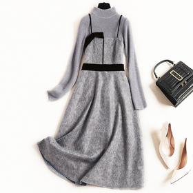 2018冬季新款女装连衣裙OL半高领针织打底衫麂皮绒吊带中长裙8600