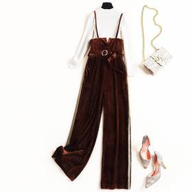 2018时尚套装冬季女装立领针织上衣亮丝金丝绒吊带长裤两件套8718