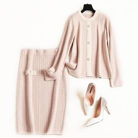 时尚套装2018冬季新款女装圆领弹力针织衫仿水貂绒格纹包臀裙8644