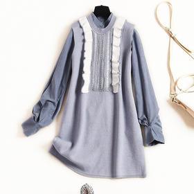 2018女装连衣裙冬季麂皮绒灯笼袖衬衫内搭荷叶边针织长裙套装8811