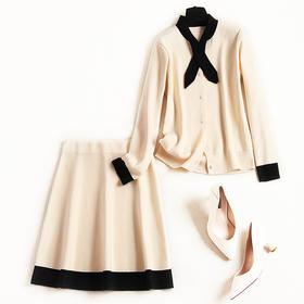 2018欧美套装女冬季长袖一排扣立领拼接系带针织衫中裙两件套8680