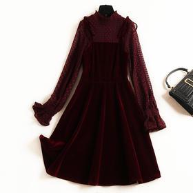 2018女装连衣裙冬季木耳边立领蝴蝶结喇叭袖蕾丝衫金丝绒长裙8789