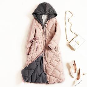 2018冬季新款女装白鸭绒羽绒服撞色可拆连帽纯色磨砂纽扣外套8659