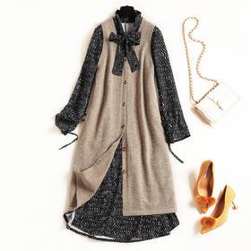 2018冬季新款女装连衣裙针织背心裙开叉雪纺裙拼接飘带两件套8648