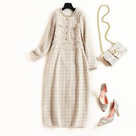 2018冬季新款女装小香风圆领长袖连衣裙粗花呢格纹高腰A字裙8761