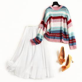 欧美时尚套装2018冬季新款女装圆领撞色条纹针织毛衣网纱半裙8646