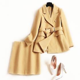 2018冬季套装女纯色翻领配腰带修身外套ol通勤毛呢中裙两件套8847