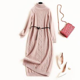 2018女装连衣裙连肩袖堆堆领裙摆开叉几何提花淑女针织中长裙C896