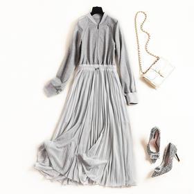 2018冬季新款女装连衣裙棒球领长袖中长裙欧美气质通勤针织裙8768