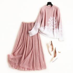 欧美时尚套装2018冬季新款女装仿水貂绒圆领雪花上衣网纱半裙8653