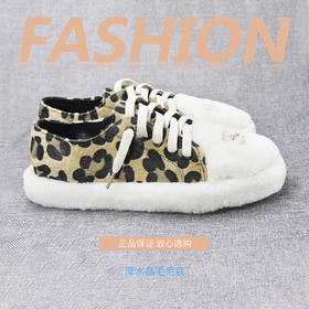2018新品系带板鞋羊羔毛豹纹拼色平跟鞋冬季加绒保暖低帮休闲女