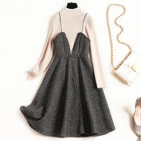 2018冬季新款毛呢连衣裙女装时尚打底针织两件套打底裙中长款8685