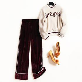 2018冬季时尚金丝绒休闲阔腿裤套装女新款仿羊羔毛卫衣两件套8674