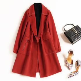 2018冬季新款毛呢外套女装时尚宽松翻领羊毛双面呢大衣中长款8621