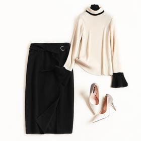 2018冬季时尚套装裙女装新款高领针织打底毛呢裙两件套中长款8665