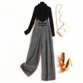 时尚套装2018冬季新款女装花边立领针织衫千鸟格吊带裤两件套8681