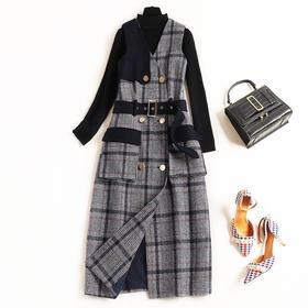 2018冬季新款连衣裙女装半高领修身两件套格纹打底针织中长裙8520