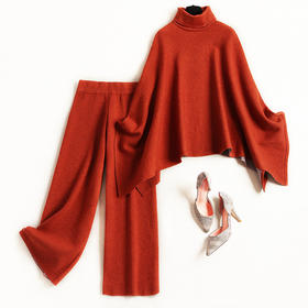 时尚套装2018冬季新款女装羊毛高领针织衫松紧腰阔腿裤两件套8593
