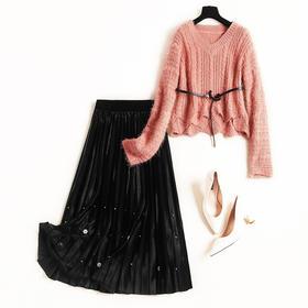 时尚套装2018冬季新款女装V领落肩袖波浪边针织衫金丝绒半裙C891